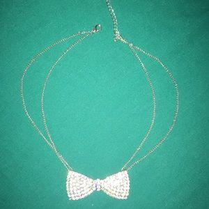 Silver bowtie rhinestone necklace